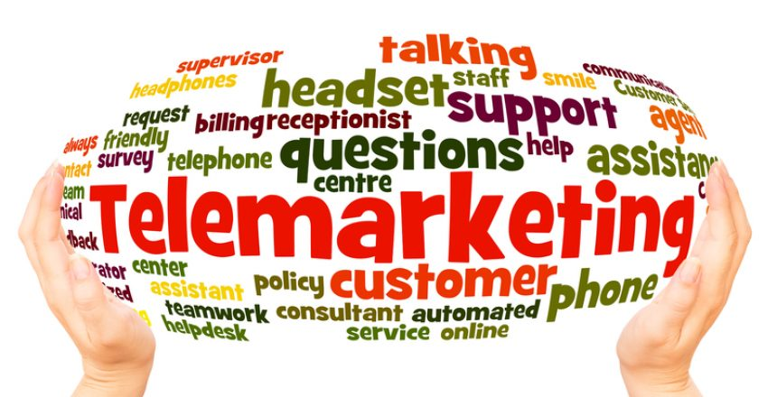 Telemarketing word cloud hand sphere concept